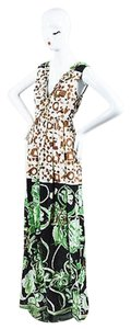 Multi-Color Maxi Dress by Emilio Pucci Green Silk Mixed Print Open Back Embellished Gown