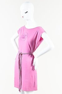 Chanel short dress Pink Bubblegum Knit Cc Stitch Belted on Tradesy