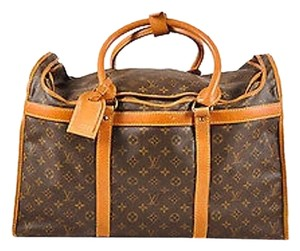 Louis Vuitton Vintage Brown Coated Canvas Monogram Hard Case Zip Dog Carrier Brown, Tan Travel Bag