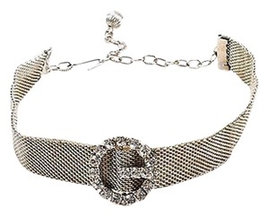 Vintage Silver Tone Circle Crystal Embellished Mesh Chain Mail Choker Necklace