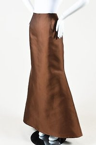 Carolina Herrera Satin Full Length Ball Maxi Skirt Brown