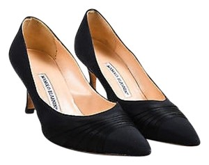 Manolo Blahnik Twill Black Pumps