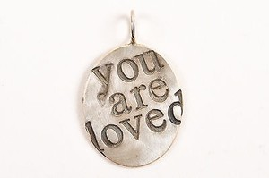 Heather B. Moore Sterling Silver You Are Loved Oval Pendant Charm