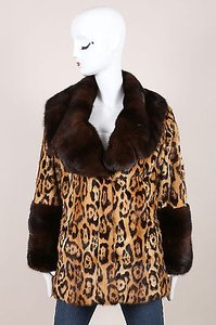 Valentino Tan Mink Trim Leopard Print Long Sleeve Coat
