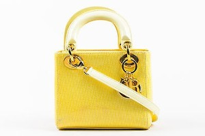 Dior Christian Patent Tote in Yellow