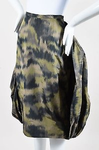 Michael Kors Olive Multi Green Camo Bubble Back Pencil Skirt Multi-Color