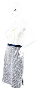 Oscar de la Renta Cream Navy Tweed Sleeveless Tie Neck Dress
