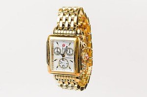 Michele Michele Gold Plated Stainless Steel Mother Of Pearl Deco Chronograph Watch