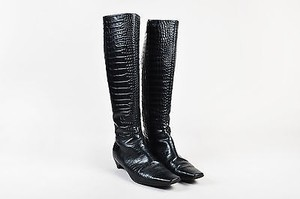 Dior Christian Embossed Black Boots