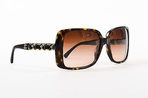 Chanel Chanel Black Gold Tone Tortoise Chain Link Sunglasses