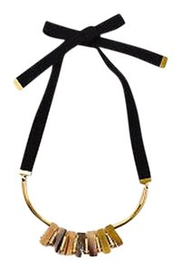 Marni Marni Gold Tone Cream Black Horn Crystal Bar Bib Statement Necklace