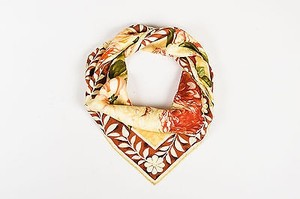 Gucci Gucci Brown Green Red Floral Print Scarf