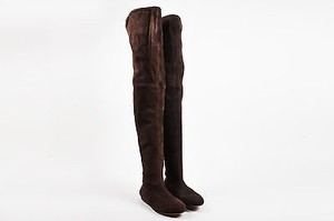 ALAÏA Alaia Chocolate Suede Flat Thigh High Brown Boots