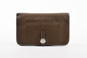 Hermès Hermes Etoupe Taupe Clemence Leather Lambskin Dogon Duo Wallet