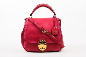 Miu Miu Leather Gold Tone Hardware Saddle Satchel in Pink
