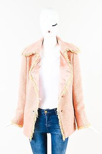 Chanel 01a Yellow Wool Tweed Fringe Trim Coco Button Pink Jacket