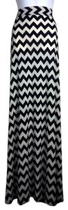 Lisa Nieves Maxi Chevron Stretchy Casual Maxi Skirt light beige/black