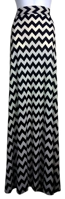 Lisa Nieves Chevron Stretchy Casual Print Maxi Skirt light beige/black