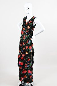 Céline Celine Black Multicolor Crepe Floral Draped Layered Pantsuit