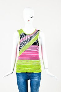 M Missoni Pink Green Navy Top Multi-Color