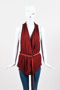 Helmut Lang Knit Leather Top Red