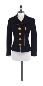 Chanel Black Wool Gold Zip Up Jacket