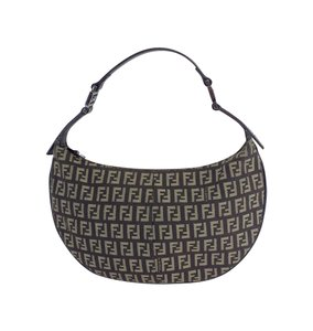 Fendi Brown Tan Monogram Canvas Hobo Baguette