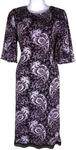 Lisa Nieves short dress purple/lilac/white/black Pencil Paisley Summer Longsleeve Spring Lycra Stretchy Pencil Skirt on Tradesy