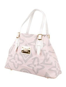 Louis Vuitton Rare Satchel in Monogrammed Tahitian Cabas GM Pink and Grey
