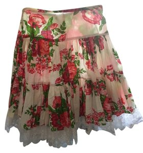 Betsey Johnson Vintage Skirt Red- Green- Pink Floral