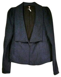 Free People Tweed Plunging V Neck Fully Lined blue Blazer