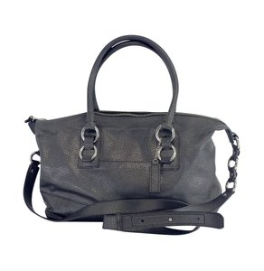 Cole Haan Black Silver Stippled Leather Shoulder Bag