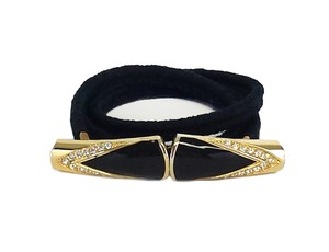 St. John Black Knit & Gold Embellished Clasp Belt