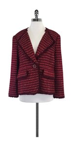 Tory Burch Maroon Red Gold Tweed Jacket