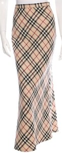 Burberry Nova Check Plaid Monogram Maxi Skirt Beige, Black