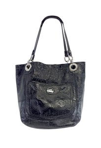 Coach Black Monogram Embossed Patent Leather Tote