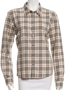 Burberry Nova Check Cotton Monogram Plaid Longsleeve Button Down Shirt Beige, Black