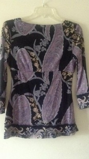 INC International Concepts Stylish Crisscross Front Top black & lavender