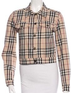 Burberry Longsleeve Nova Check Silver Hardware Denim Plaid Beige, Multicolor Jacket