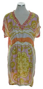 Zara short dress Orange Cap Sleeve Printed Woven 100% Silk Tunic on Tradesy