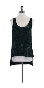 Diane von Furstenberg Black Green Silk Sequin Top