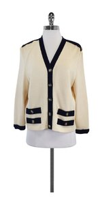 St. John Cream Navy Knit Cardigan