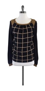Tory Burch Brown Black Grid Print Sweatshirt
