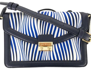 Vera Bradley Crossbody Wavy Stripe With Navy Messenger Bag