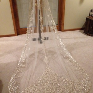 Ivory with Gold Sequins. Long Lucille Bridal Veil