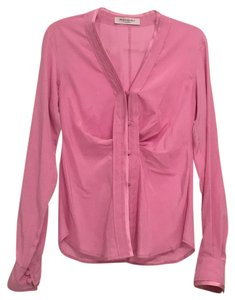 Saint Laurent Silk Button Down Top Pink