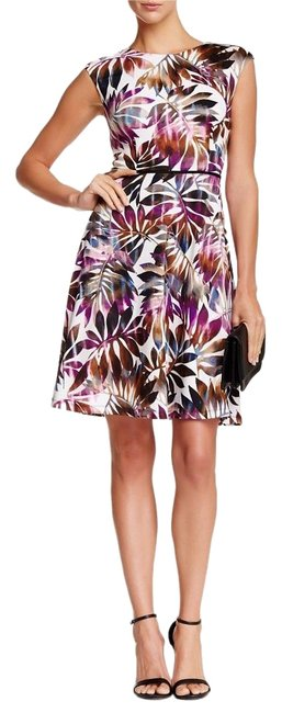 Item - White Purple Green Brown Palm Print A-line Mid-length Short Casual Dress Size 6 (S)