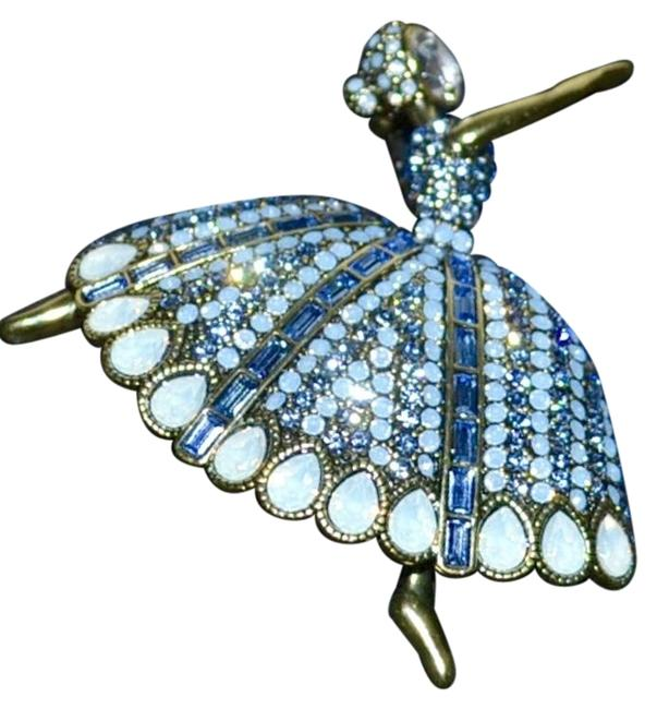 """Item - Clear White Opal- Light Sapphire- and Air Blue Opal-color """"Dreams Come True"""" Ballerina Swarovski Crystals Brooch Pin"""