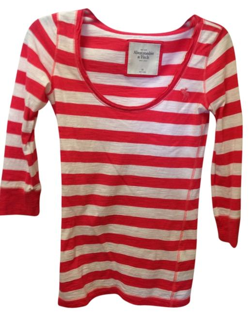 Abercrombie & Fitch Striped Soft Scoopneck T Shirt White and Orange