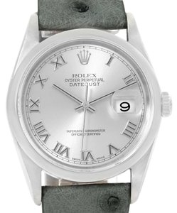 Rolex Rolex Datejust Steel Silver Roman Dial Leather Strap Mens Watch 16200